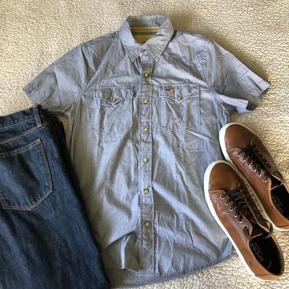 Hollister Other - Hollister Short Sleeve Snap Button Shirt GUC